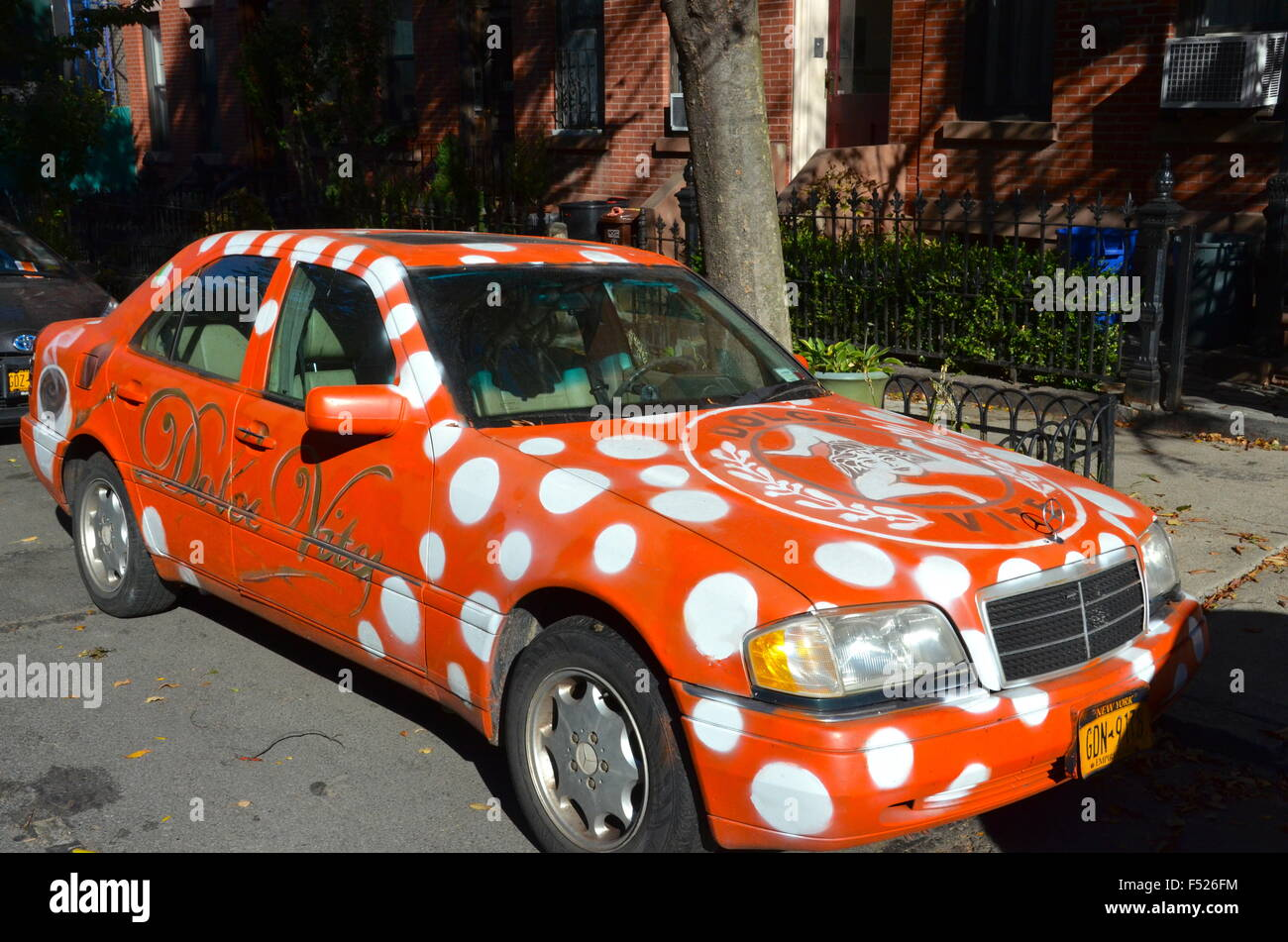 hand painted car advertising restaurant brooklyn dolce vita - Stock Image