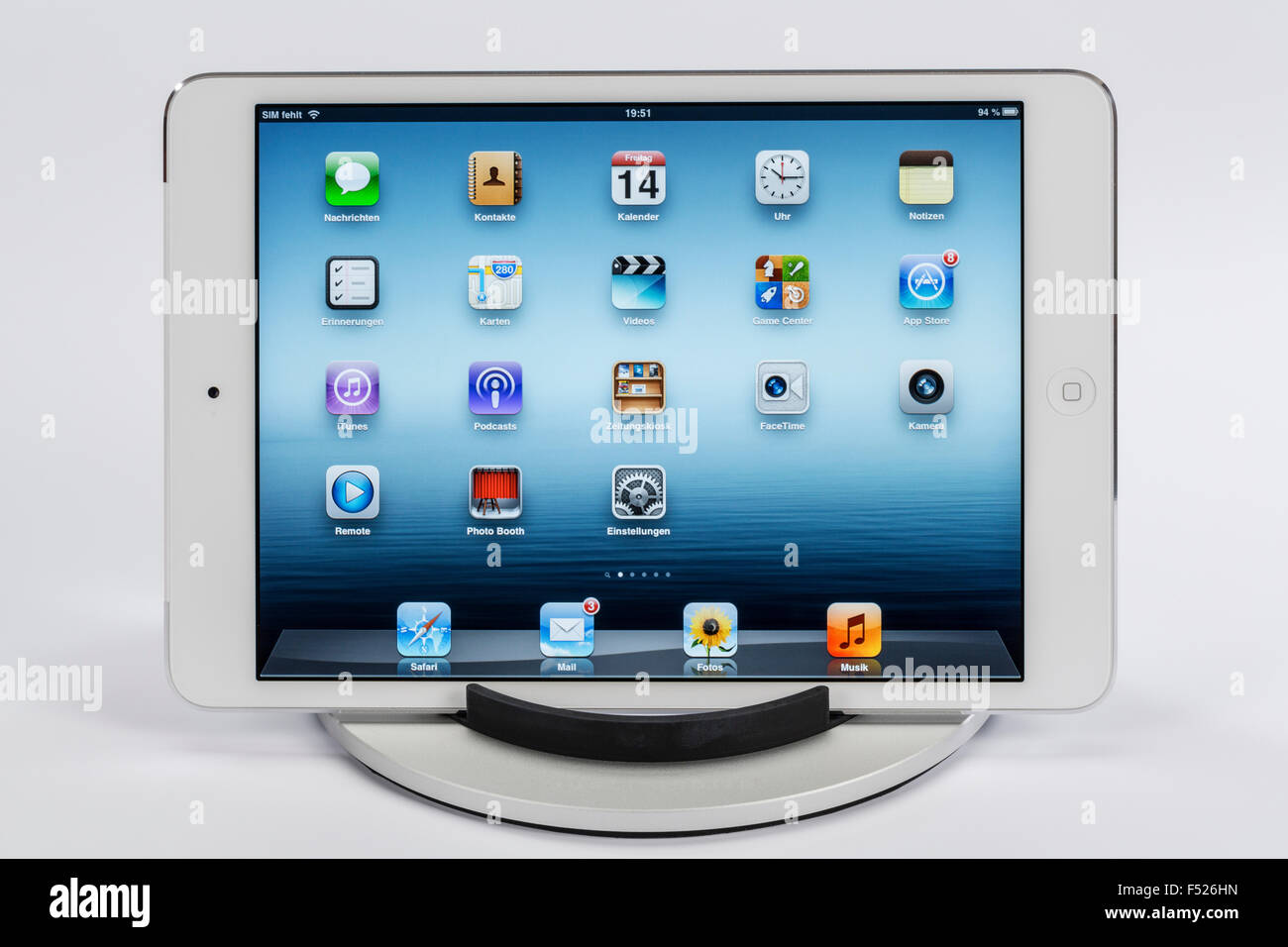 Apple iPad mini, display, apps, programmes, multi-touch function, iPad stand, - Stock Image