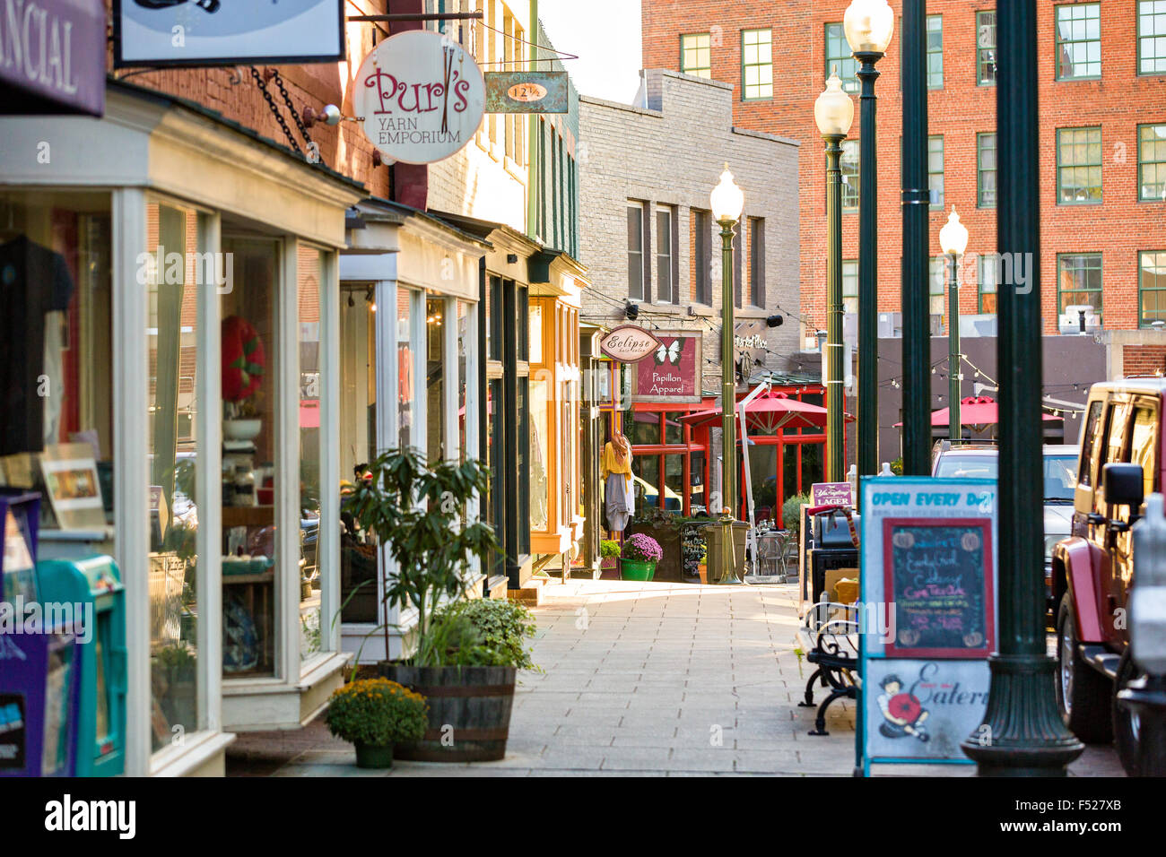 Shops And Restaurants Along Wall Street In Asheville North Carolina