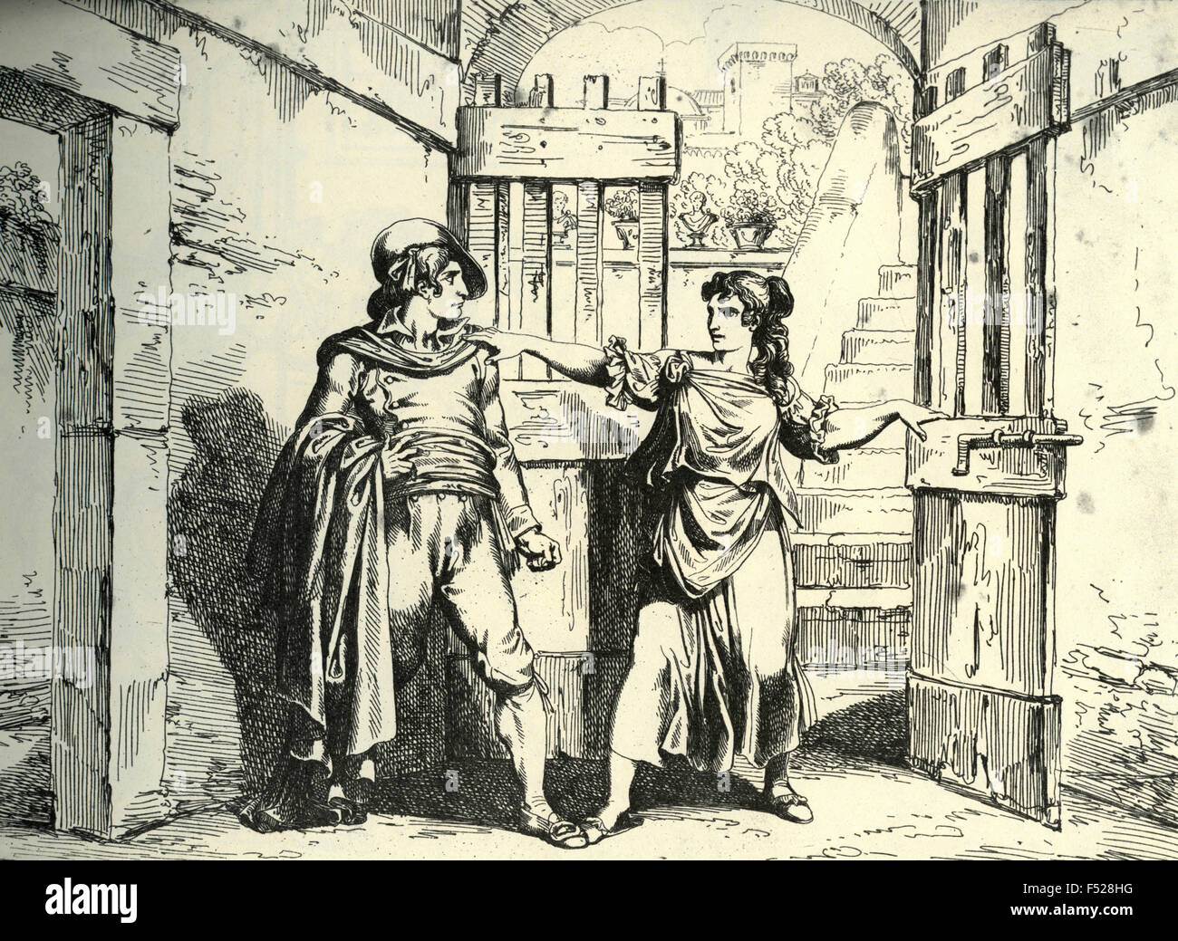 Illustration: Meo Patacca astonished at being rejected by Nuccia as supposedly unfaithful - Stock Image