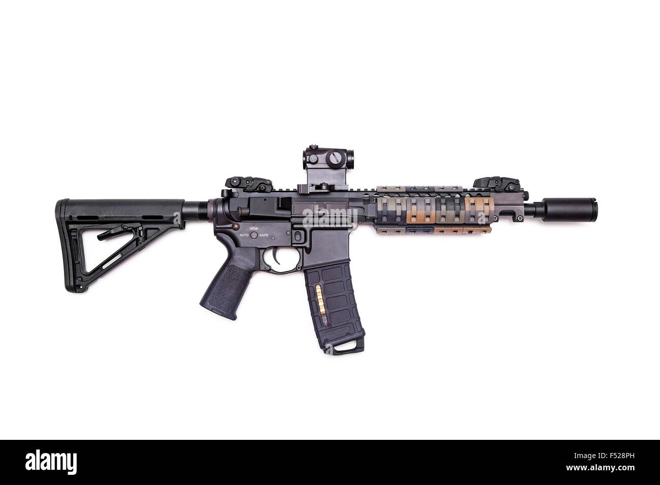 The Black Rifle: custom build 9' AR-15 SBR isolated on a white background, studio shot - Stock Image