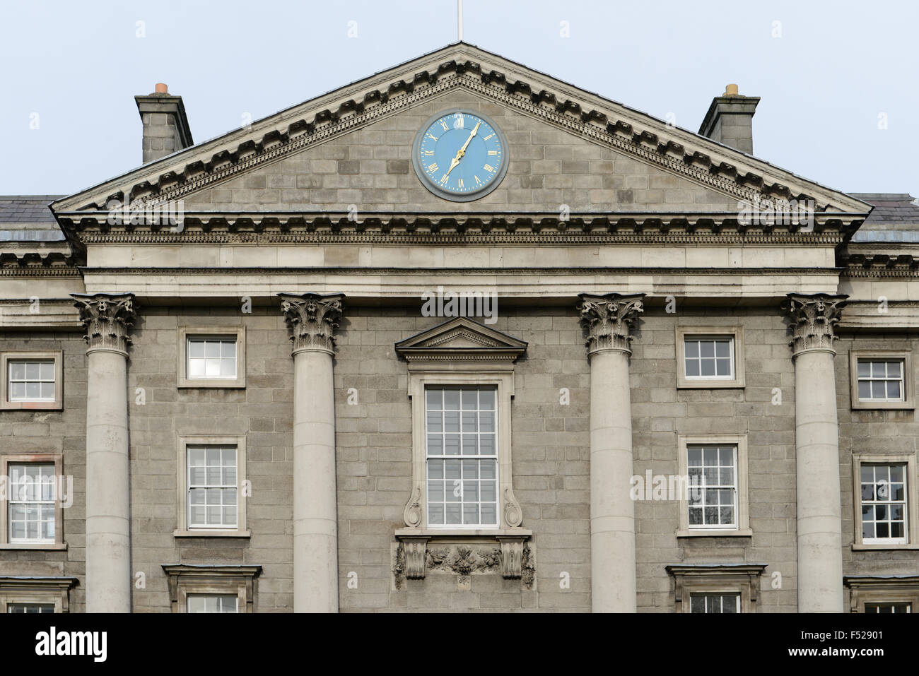 Trinity College - detail of the top of the main entrance -Dublin, Ireland. - Stock Image