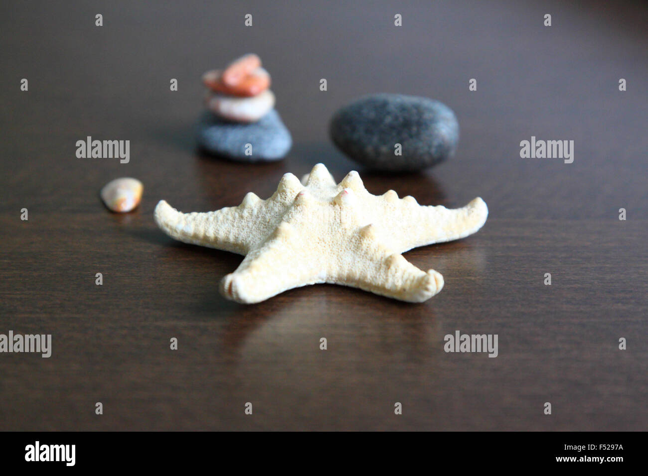 Starfish and pebbles.Starfish and some small stones - reminiscence of the sea and hot summer days Horizontal photo. - Stock Image