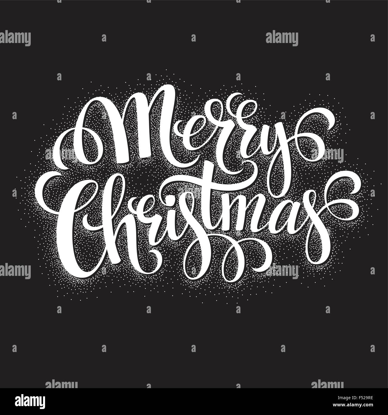 Black and White Christmas Card. Merry Christmas lettering Stock ...