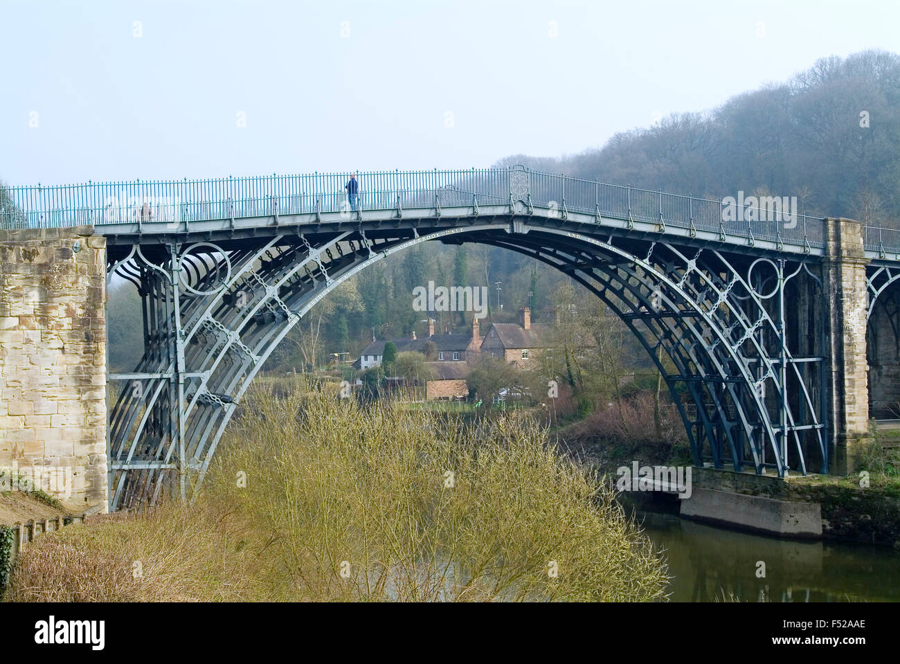 First iron bridge in the world by Abraham Darby III crossed the River Severn at Ironbridge Shropshire England UK - Stock Image