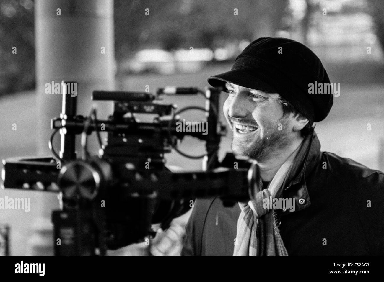 Matthew Milnes, band member of Bradford band Kascarade, shot during filming of music video, Lister Park, Bradford - Stock Image