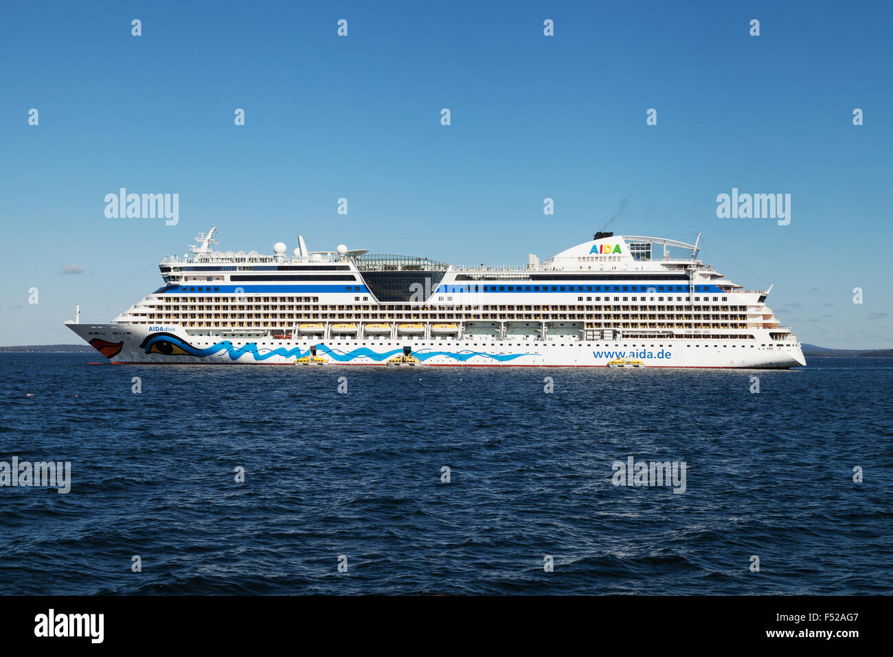 The cruise ship AidaDiva, from the German Aida Cruises cruise line, at anchor in Bar Harbor, Maine USA - Stock Image