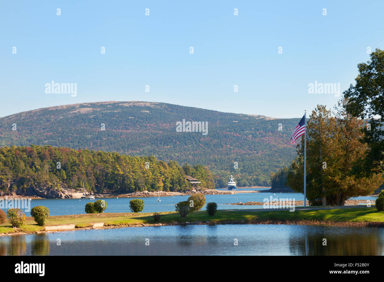 Somes Sound seen from Somesville, Mount Desert Island, Acadia National Park, Maine USA - Stock Image