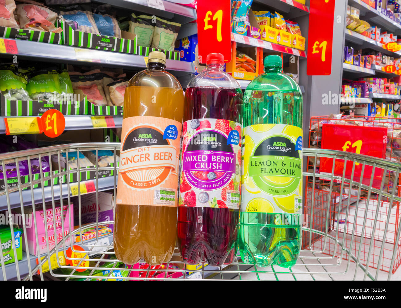 Asda fizzy juice drinks with no added sugar. Asda store. UK - Stock Image