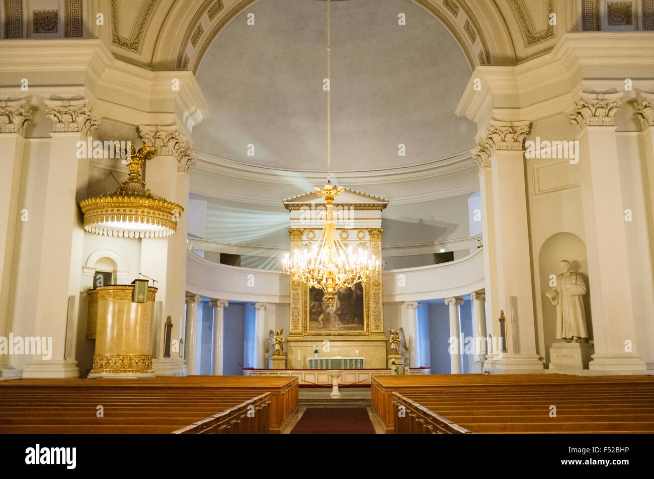 Interior of Helsinki Lutheran Cathedral, Finland - Stock Image
