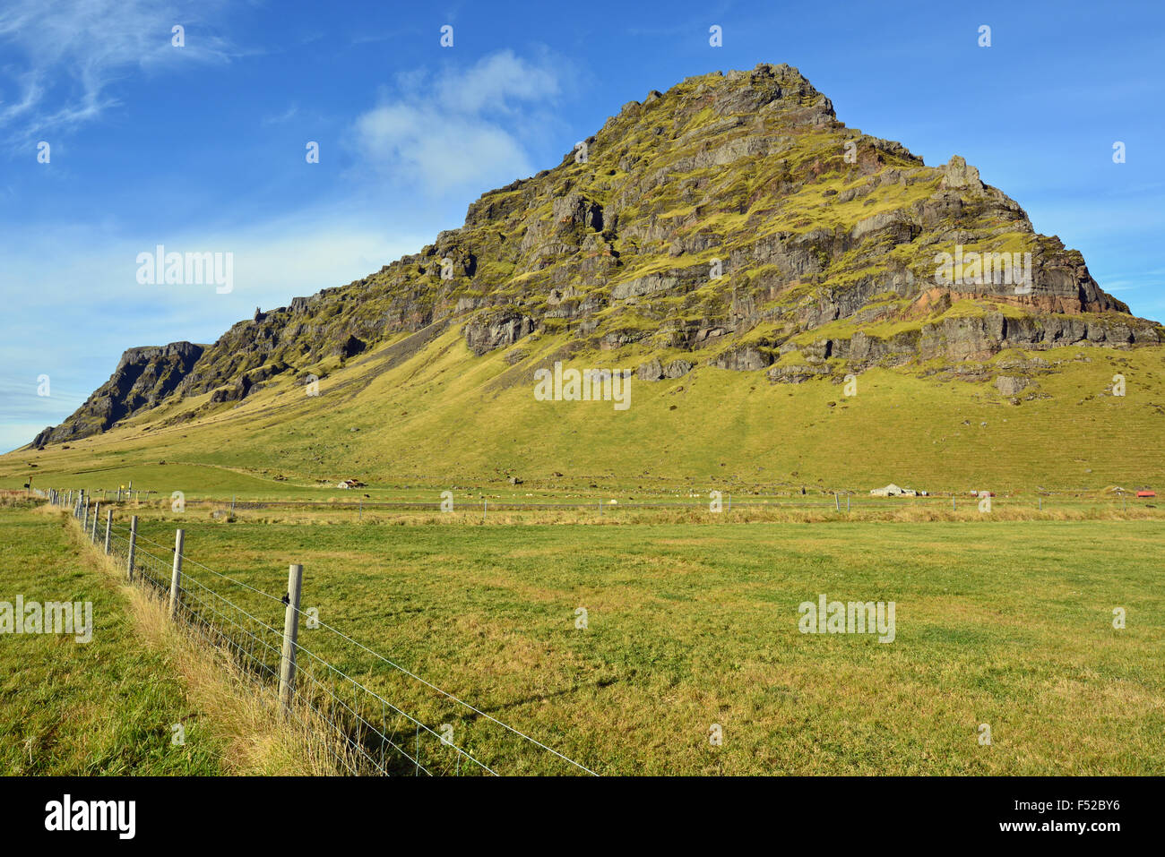 Rocky outcrop near the Eyjafjallajökull volcano in South Iceland - Stock Image