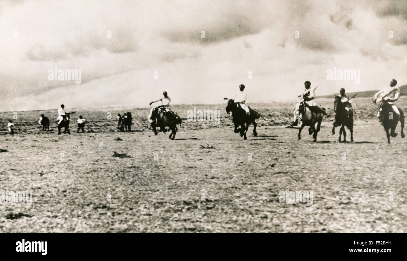 The Ethiopian cavalry galloping over the plains of the north, Ethiopia - Stock Image