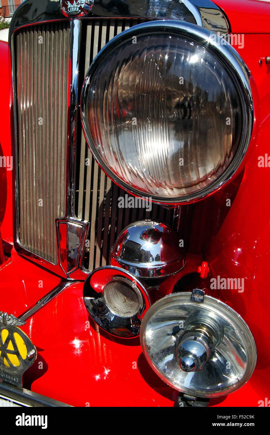 Detail of an Vintage Car 1949 Triumph Roadster, Front Part View - Stock Image
