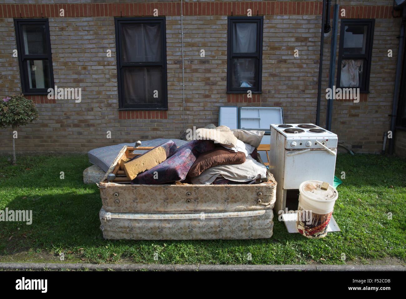 Fly tipping on a residential street, London, UK - Stock Image