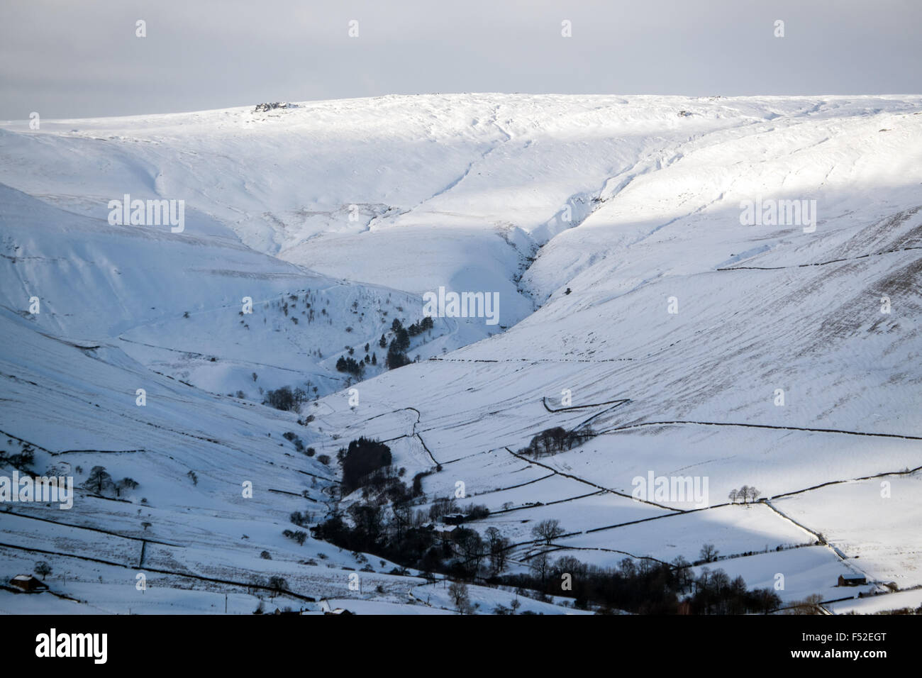 The southern edge of Kinder Scout and Jacobs Ladder in winter - Stock Image