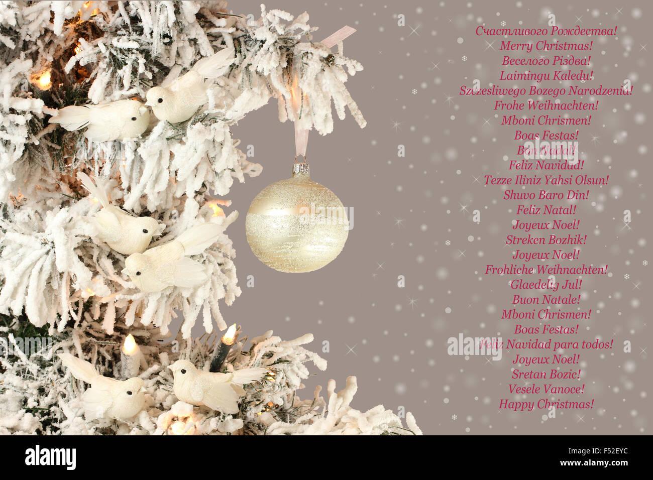 Joyeux Noel Twilight.Decoration On Christmas Tree White Birds And Silver Ball