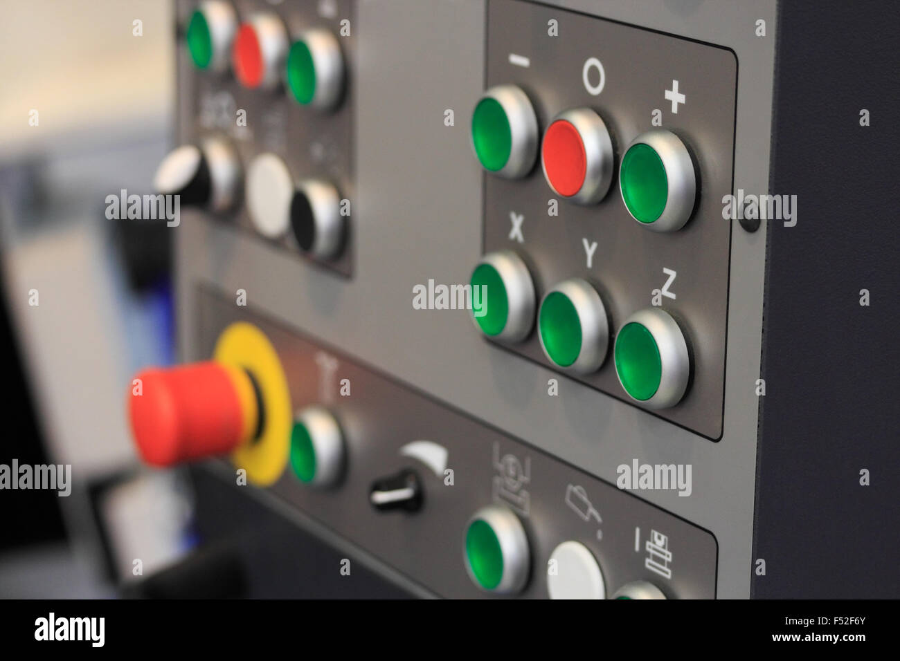 Control panel of CNC machining center. Closeup view. - Stock Image