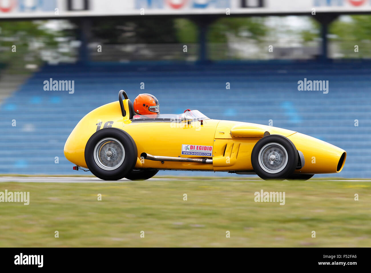 Hockenheim Historic, historical racing car, yellow, moving, panned, right side, year of construction unknown, - Stock Image