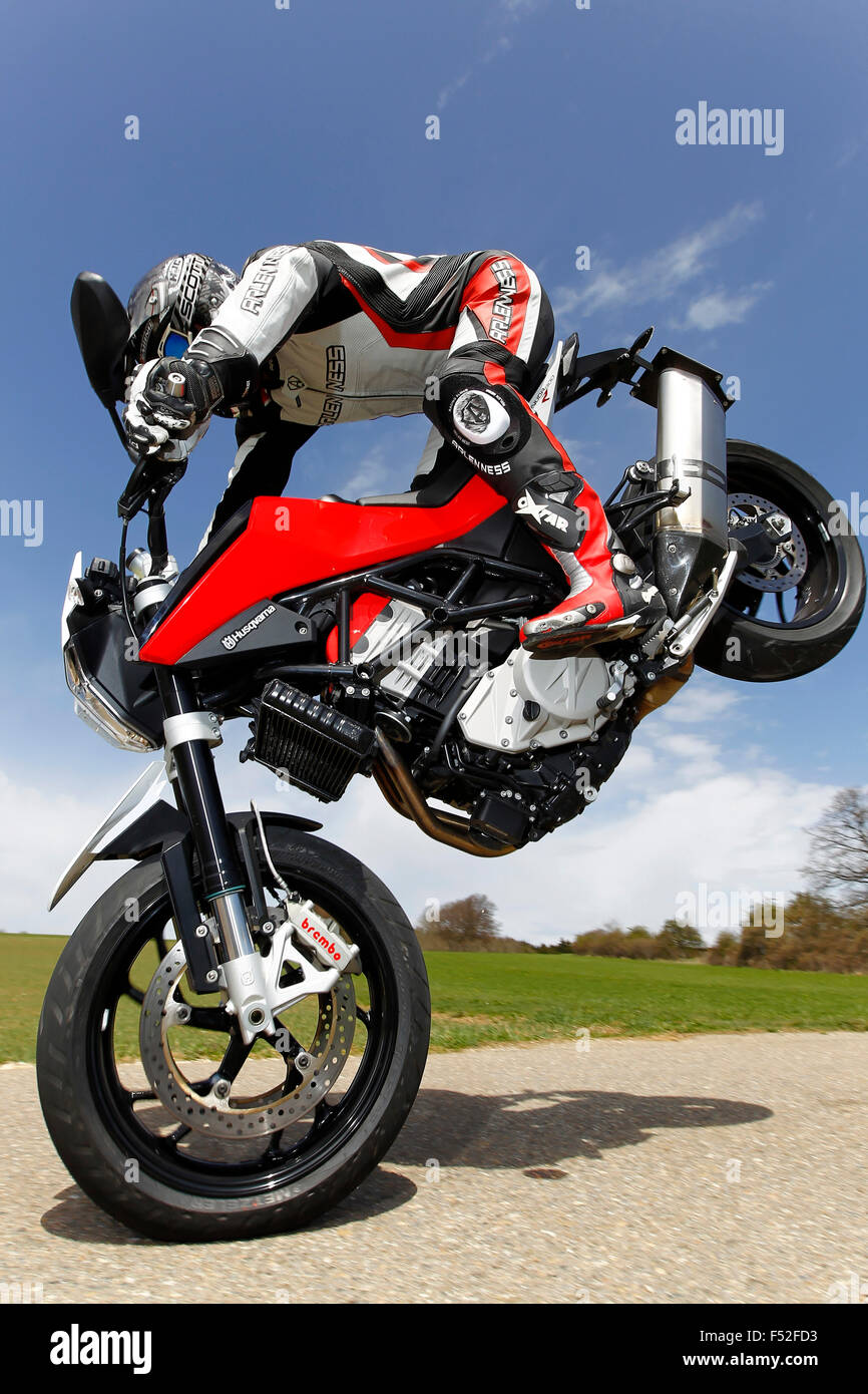 Motorcycle, Husqvarna Nuda 900 R, year of construction in 2012, Stoppie on country road, - Stock Image