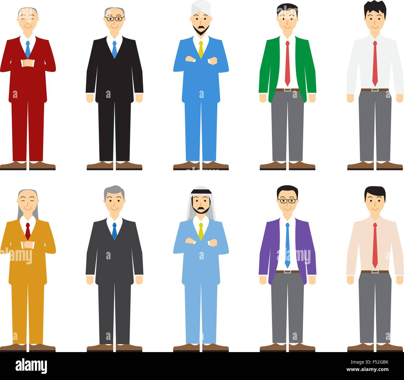 Set of old and young business man in flat style, vector Stock Vector