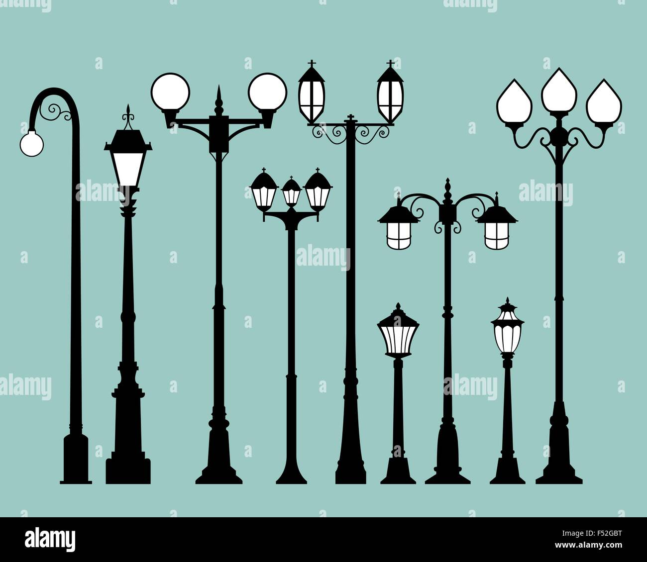 Set of street lamps in flat style, vector Stock Vector