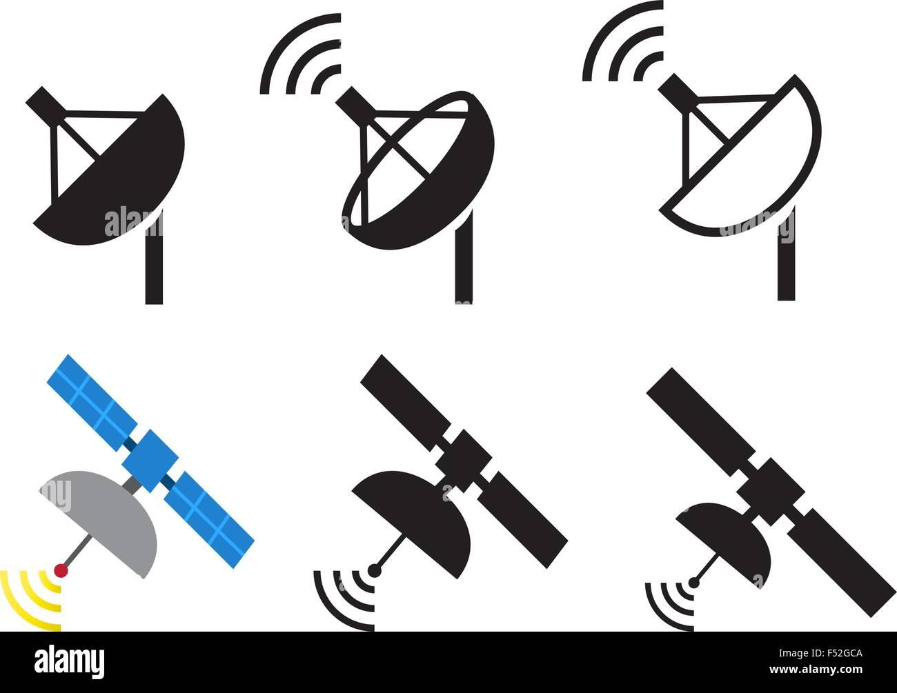 Set of satellite icons, Vector illustration - Stock Image