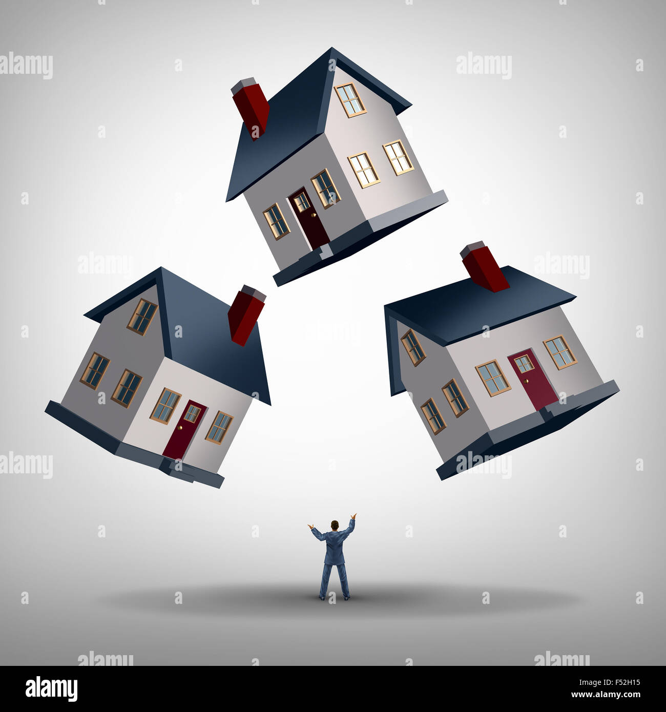 Real estate manager and house flipping and management concept as a person juggling three homes as a residence manager - Stock Image