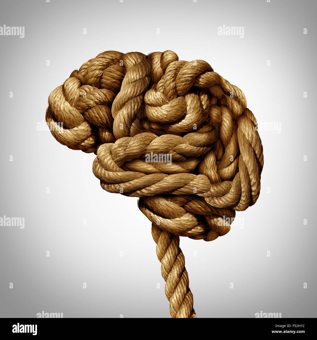 Tangled brain mental health concept as a rope twisted into a human thinking organ as a medical neurological symbol - Stock Image