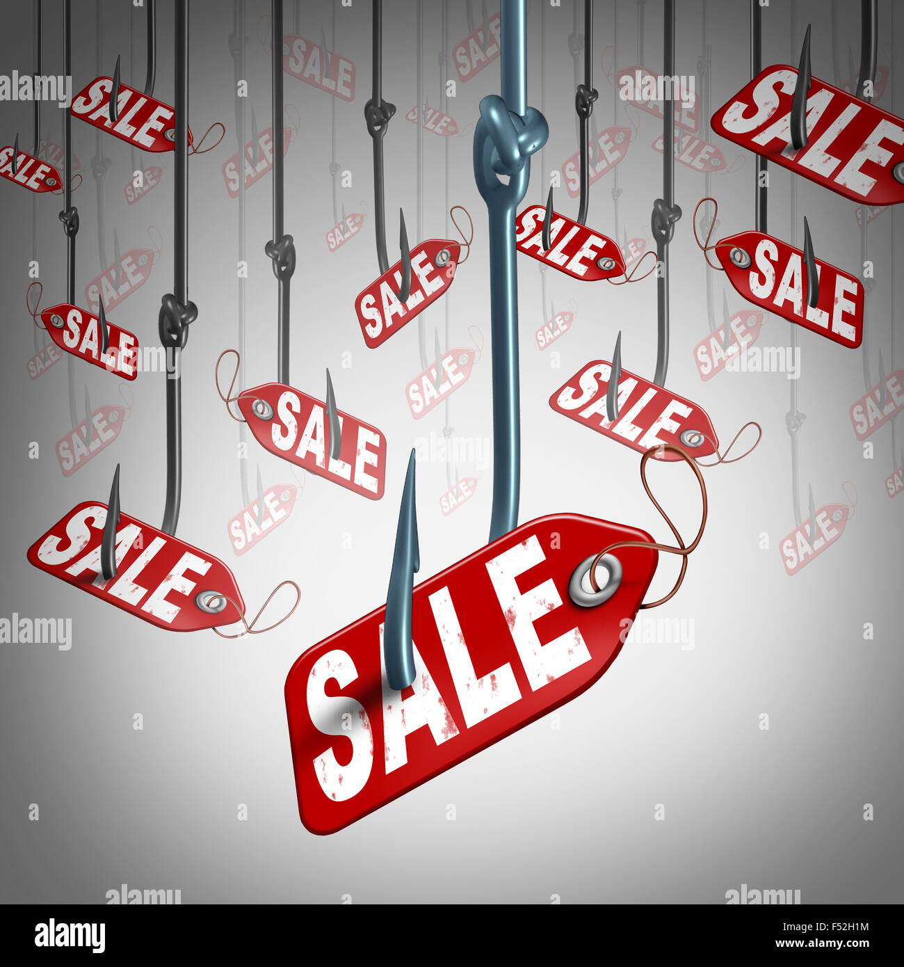 Price incentive retail business concept as a group of fishing hooks with a sale price tag bait attached to the lure - Stock Image