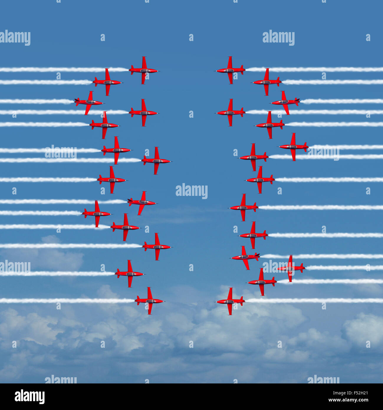 Destructive business strategy concept as two reckless groups of opposing airplanes or acrobatic jets facing off - Stock Image