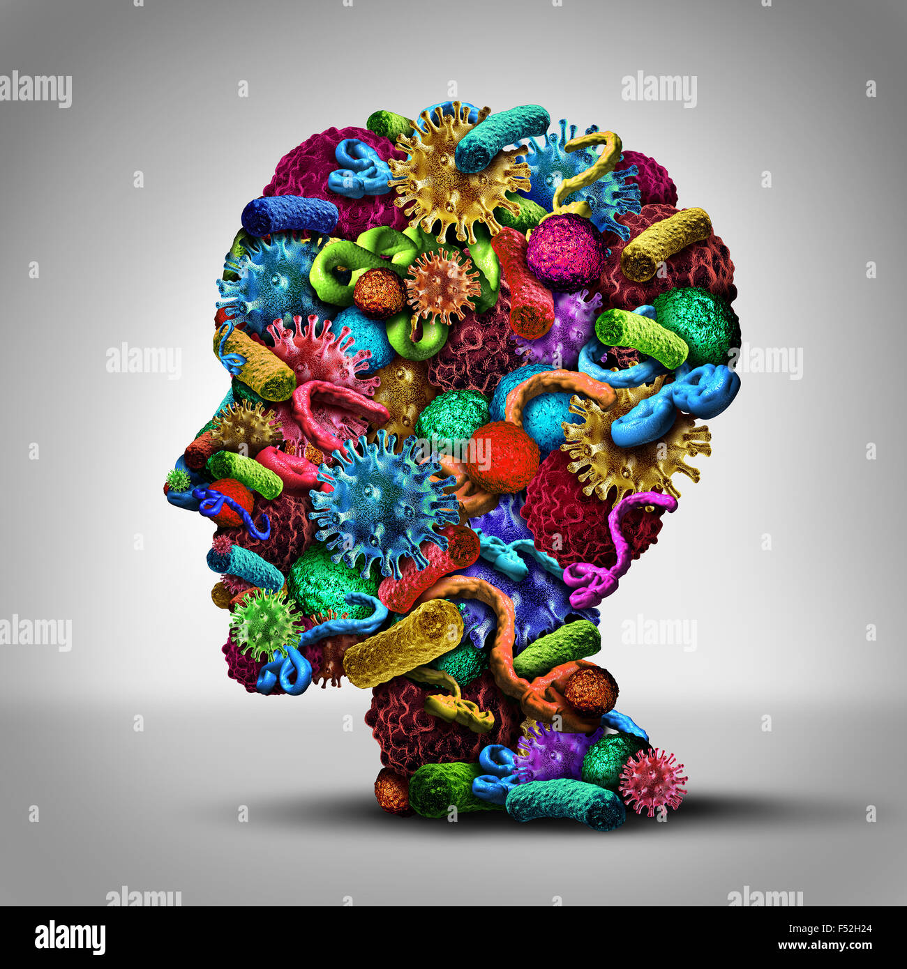 Disease thinking illness issues and medical concept as a group of cancer bacteria cells and ebola virus shaped as - Stock Image