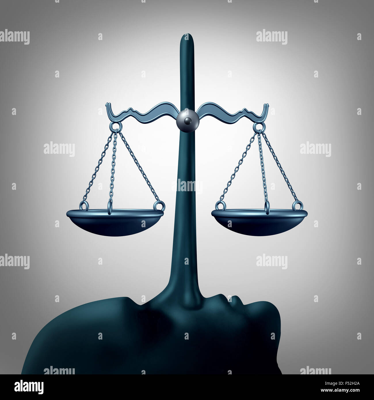 Legal dishonesty concept and lying justice concept or committing perjury symbol as a law scale being balanced by - Stock Image