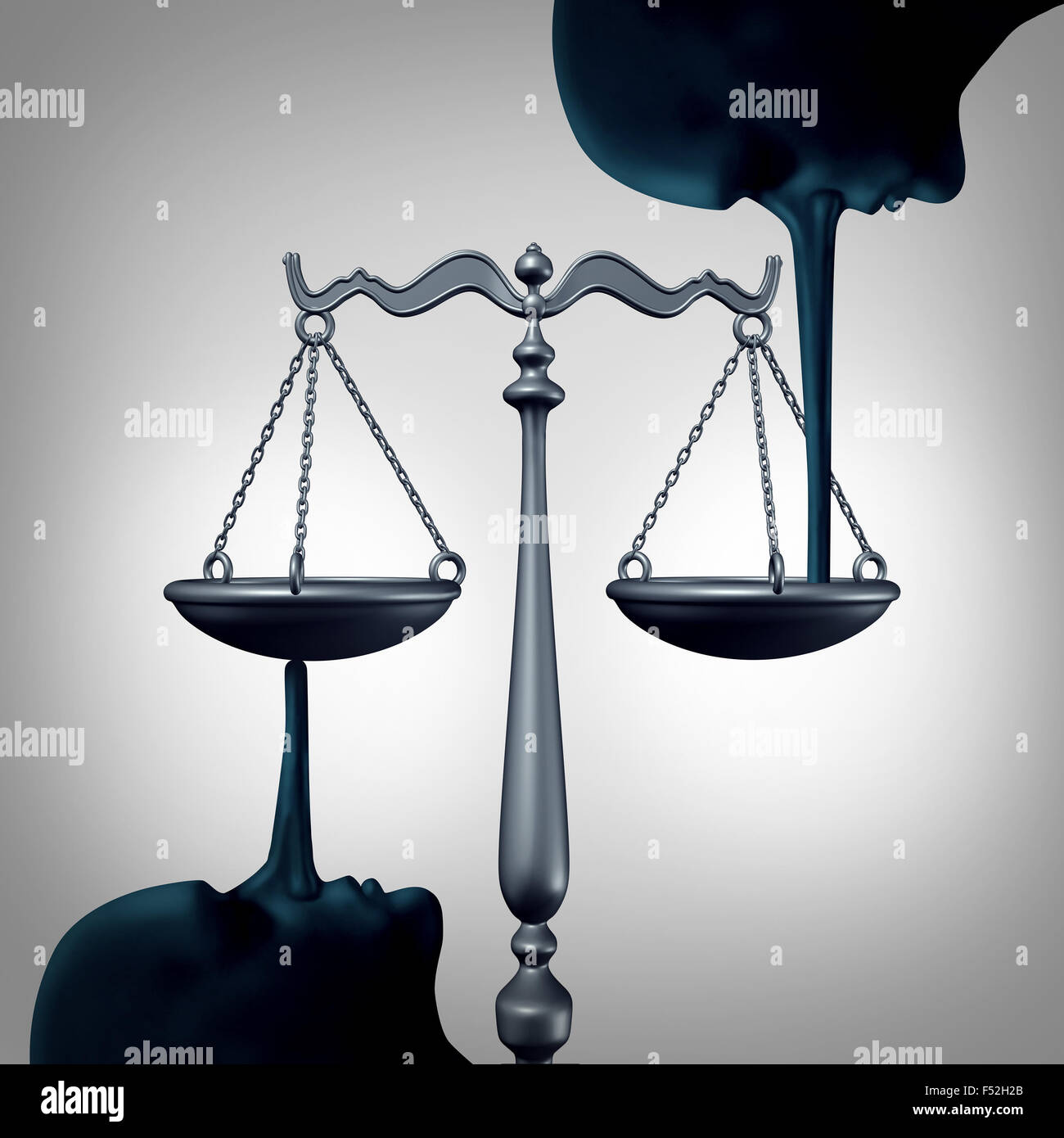 Lying justice concept and committing perjury symbol as a law scale being balanced by the long nose of liers making - Stock Image