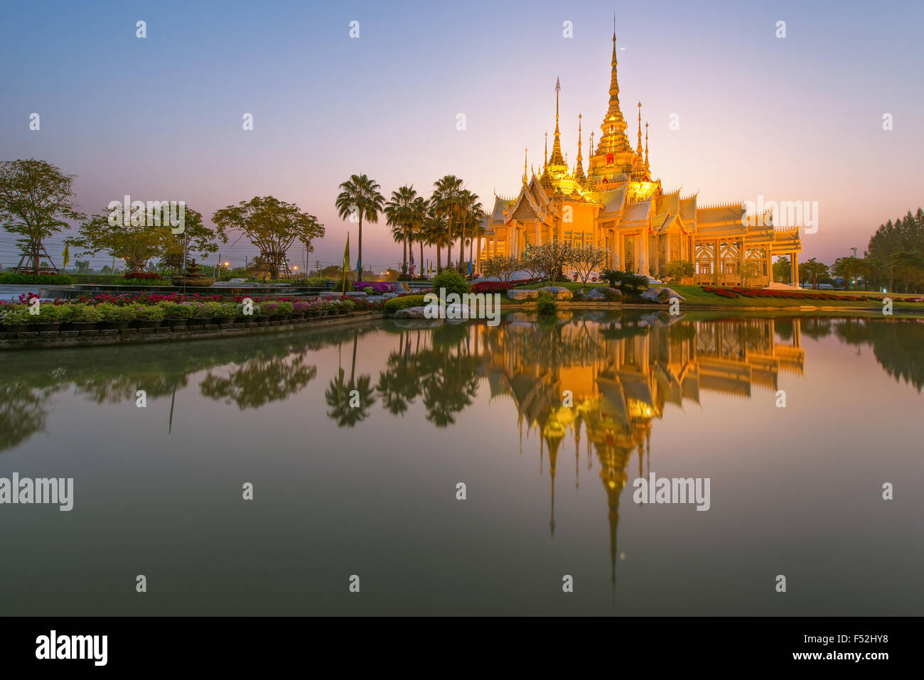 Beautiful temple at twilight time in Thailand - Stock Image