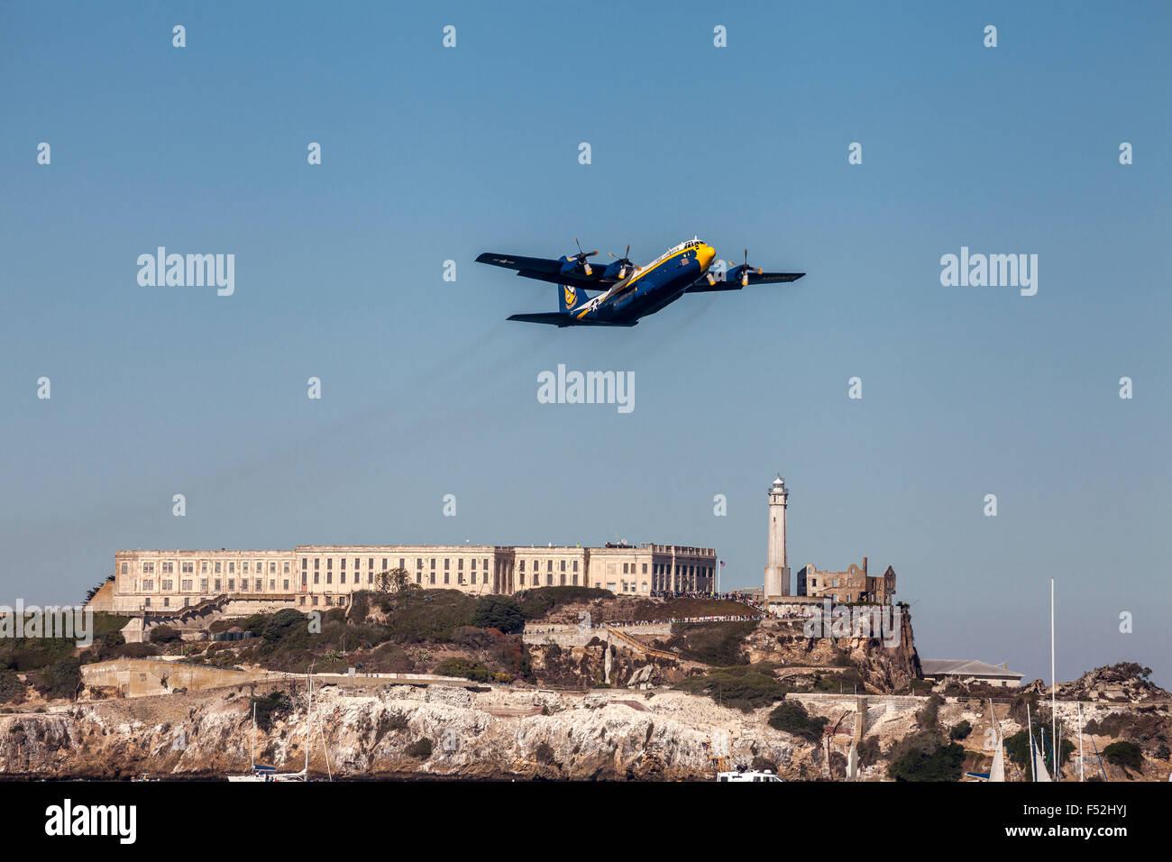 US Marine Corps C-130T Hercules nicknamed Fat Albert flying over Alcatraz during Fleet Week 2015, San Francisco, - Stock Image