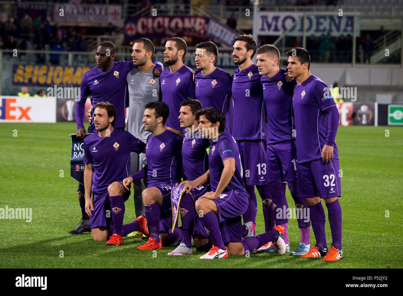 Florence Italy 22nd Oct 2015 Fiorentina Team Group Line Up Stock Photo Alamy