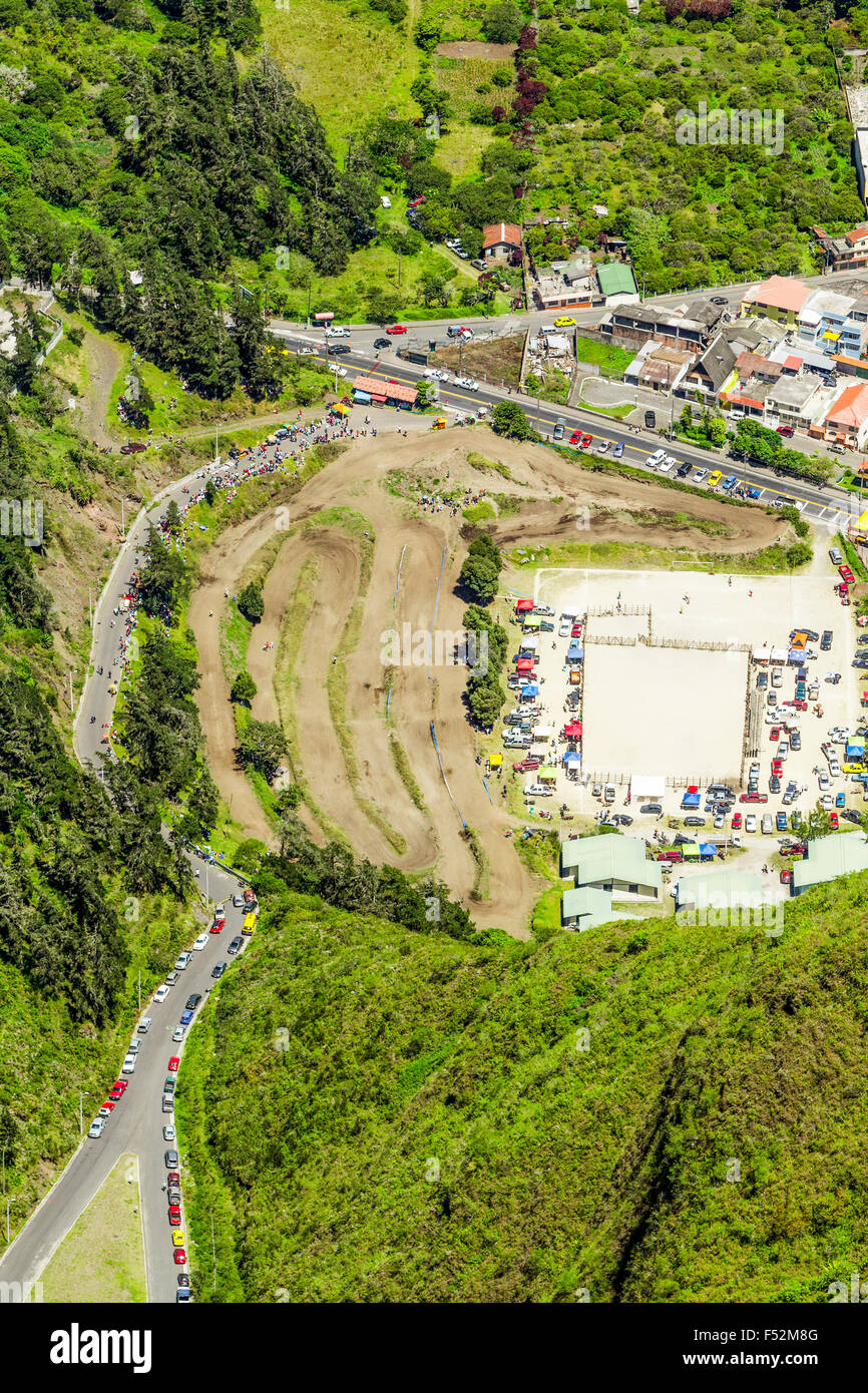 High Altitude Photo Of A Public Event In Banos De Agua Santa Tungurahua Province Ecuador - Stock Image