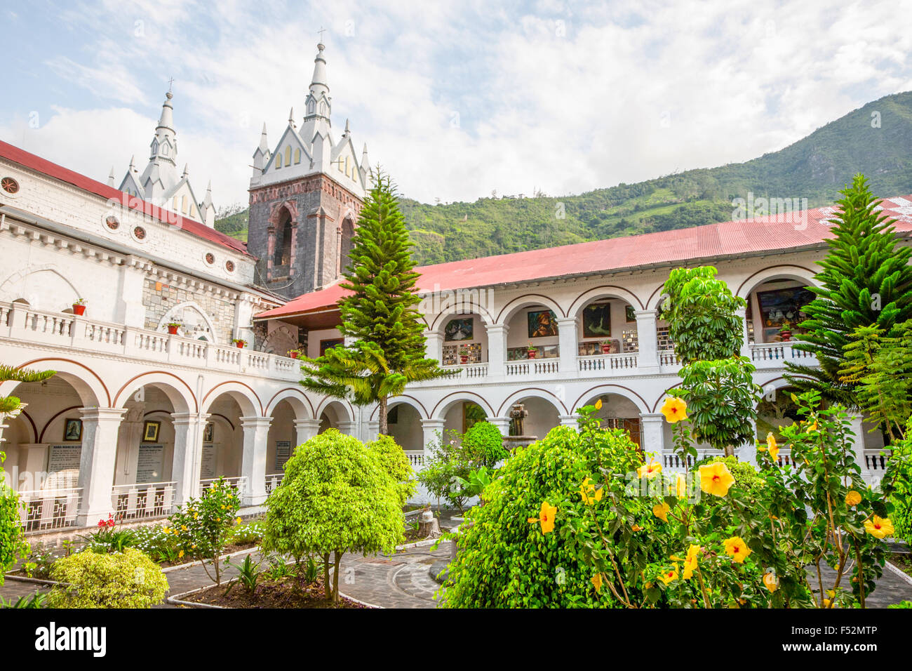 La Basilica De Nuestra Senora Del Rosario De Agua Santa Banos Ecuador Stock Photo