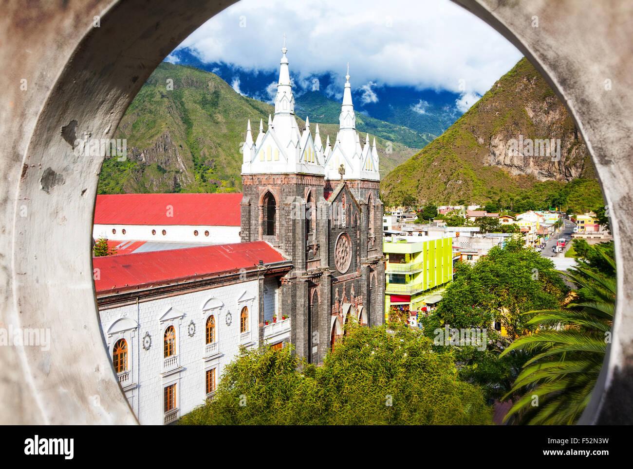 La Basilica De Nuestra Senora Del Rosario De Agua Santa Banos Ecuador - Stock Image