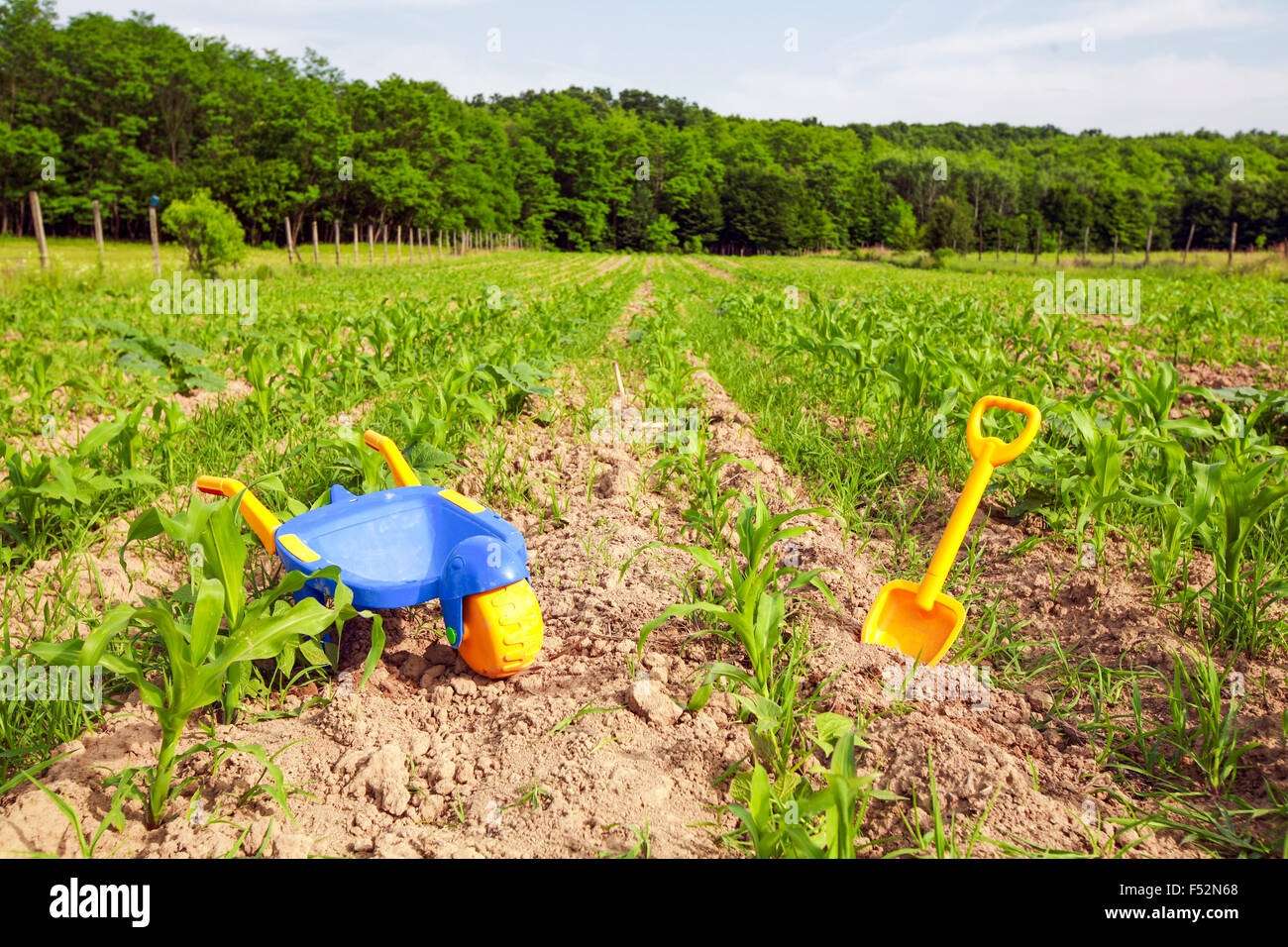 Construction Toy Tools In A Primitive Undeveloped Agriculture - Stock Image