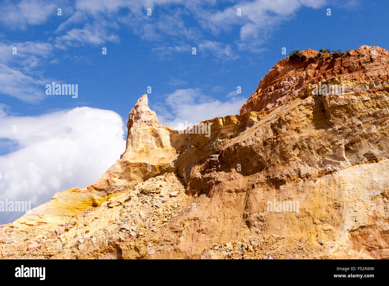 Gold Open Pit Mining Or Quarry Platform Deep In The Amazon Basin - Stock Image