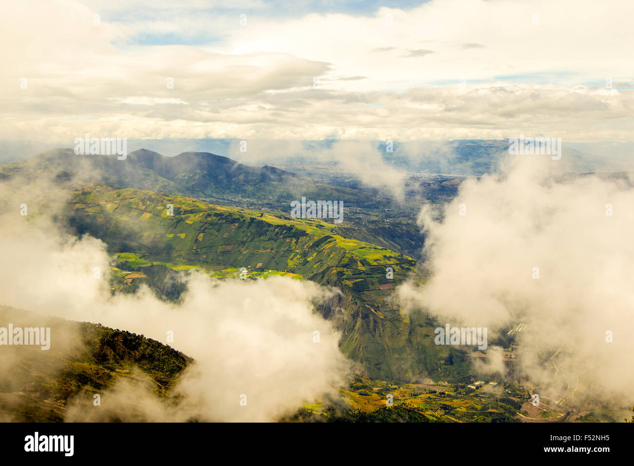 Tungurahua Province In Ecuador View From Top Of Volcano On A Cloudy Day - Stock Image