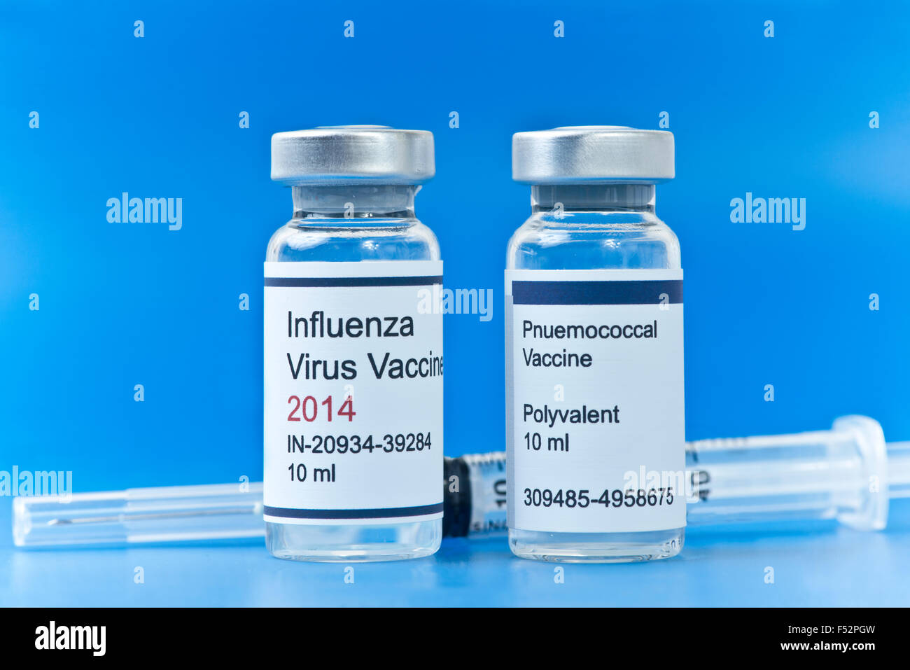 Two most common adult vaccines, influenza and pnuemococcal pnuemonia. - Stock Image