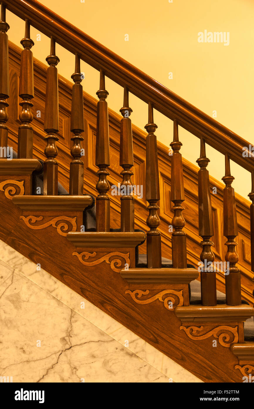 Superieur Ornate Staircase In The Nevada State Capitol Building, Carson City   Stock  Image