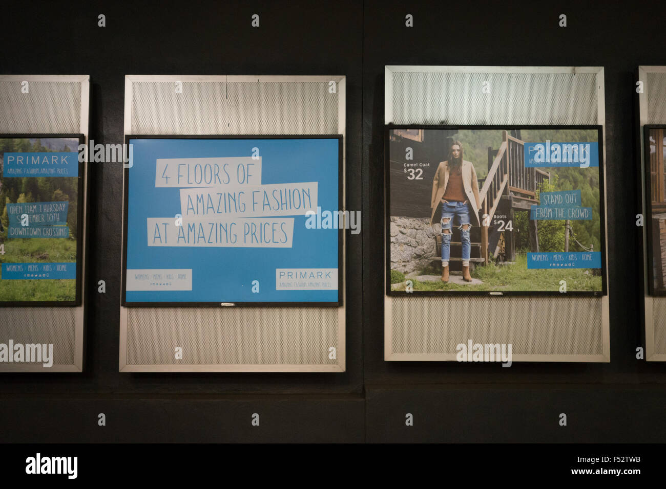 primark ads boston station - Stock Image