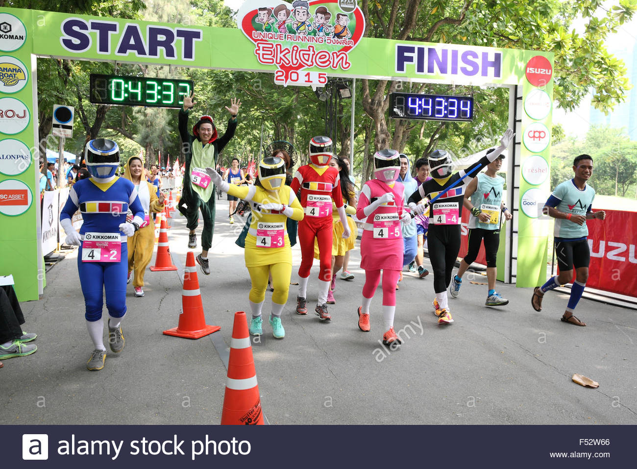 Bangkok - October 23: unidentified runner participates wearing fancy costume in Ekiden 2015 Marathon relay run fun - Stock Image