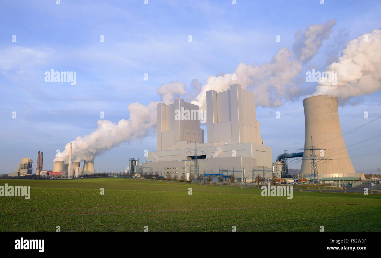 New and old brown coal power station Neurath, Germany, North Rhine-Westphalia, Grevenbroich Stock Photo