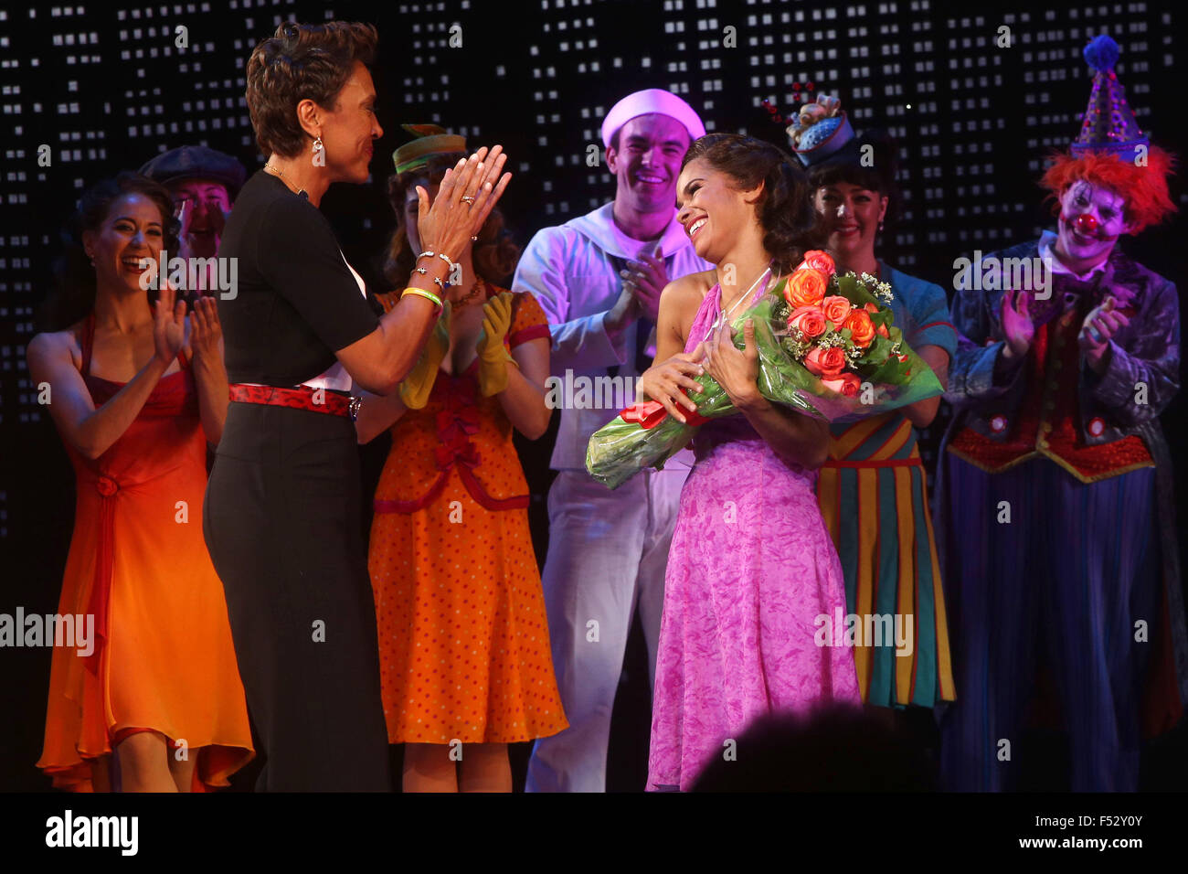 Misty Copeland makes her Broadway debut in On The Town at the Lyric Theatre - Curtain Call.  Featuring: Robin Roberts, - Stock Image