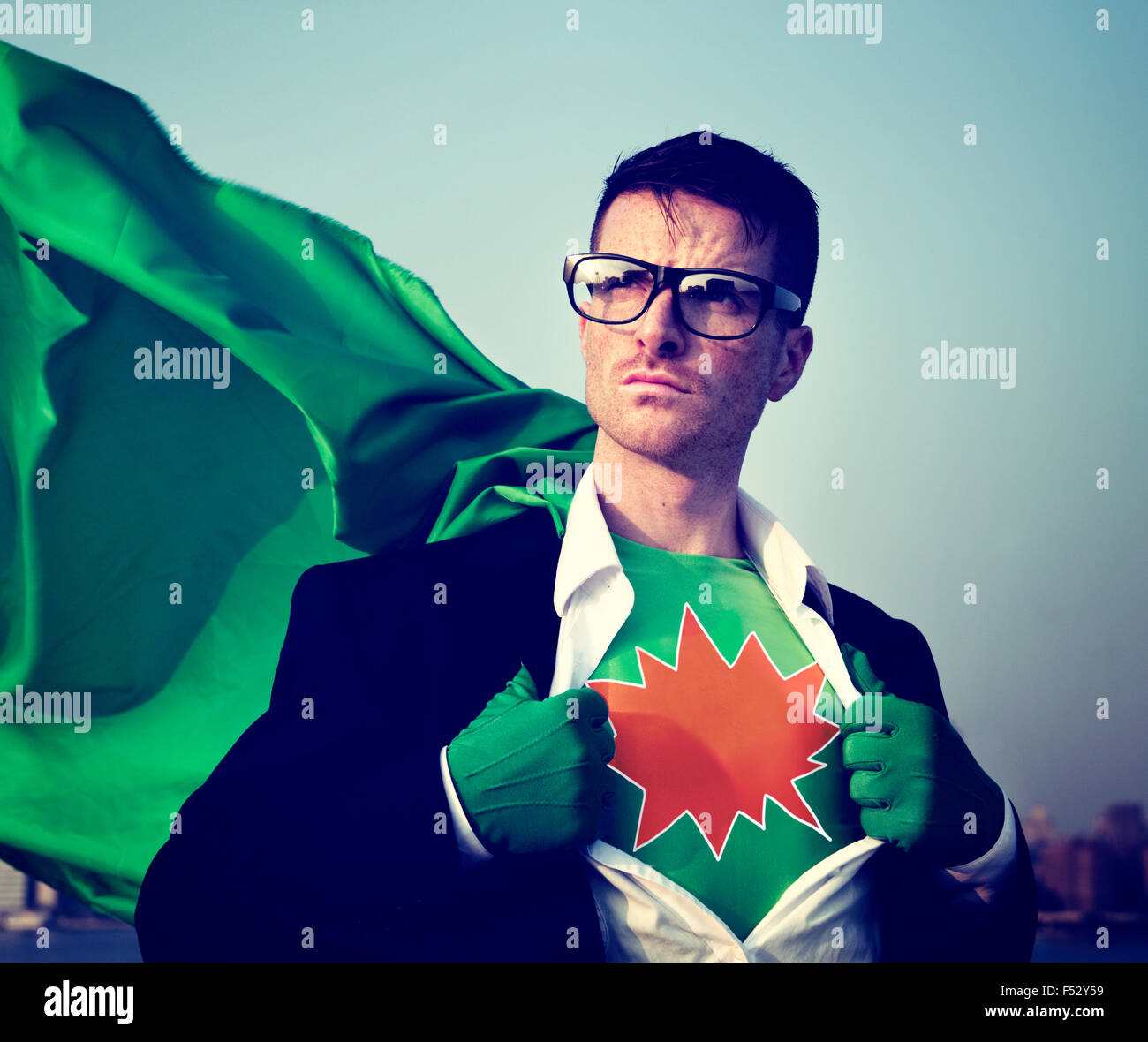 Kaboom Strong Superhero Success Professional Empowerment Stock Concept - Stock Image
