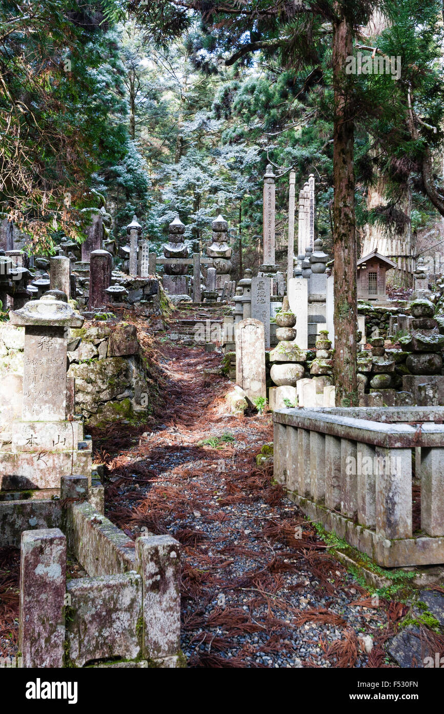 Japan, Koyasan, Okunoin cemetery. Small pathway in cedar forest, between memorial tombstones leading to two large - Stock Image